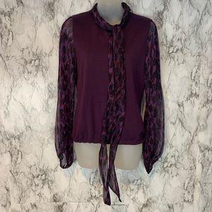 ESCADA 100% Silk Wool Purple  Print Long Sleeve
